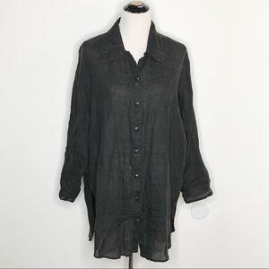 Flax Lagenlook Black Linen Oversized Tunic
